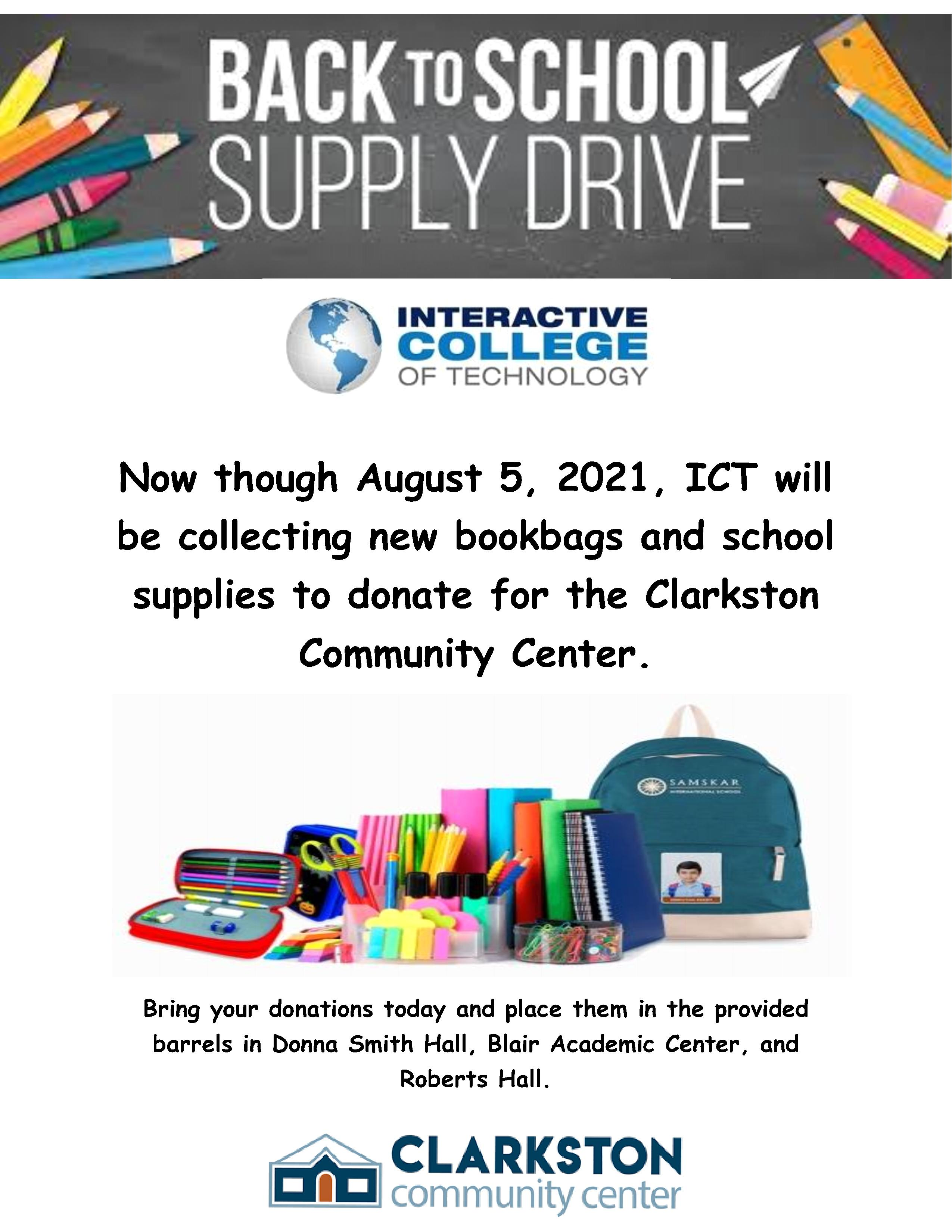 CHAMBLEE CAMPUS:  Clarkston Community Center Back to School Drive  Donate new book bags and school supplies today!