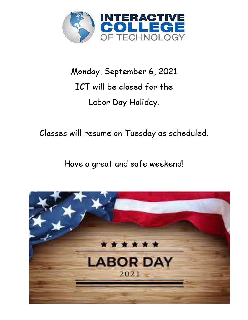 No classes on Labor Day, Monday, September 6, 2021